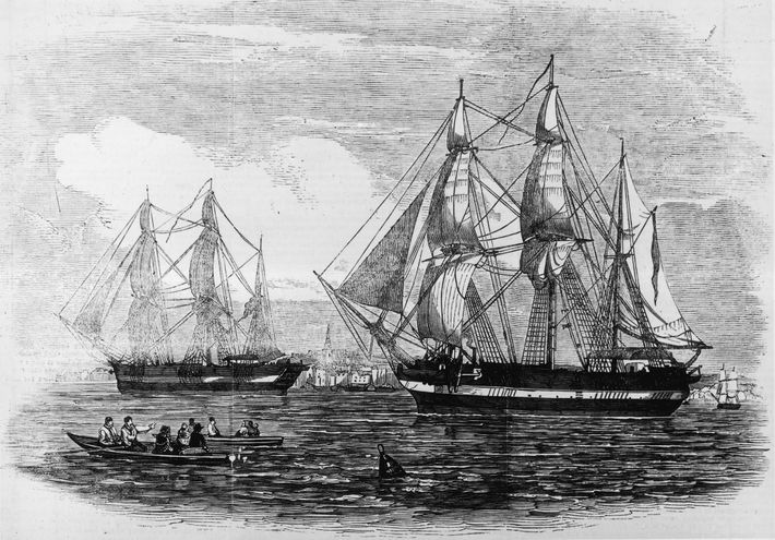 "Al mando de Sir John Franklin, a mediados del sigloXIX, las naves ""H.M.S. Erebus"" y ""H.M.S. ..."