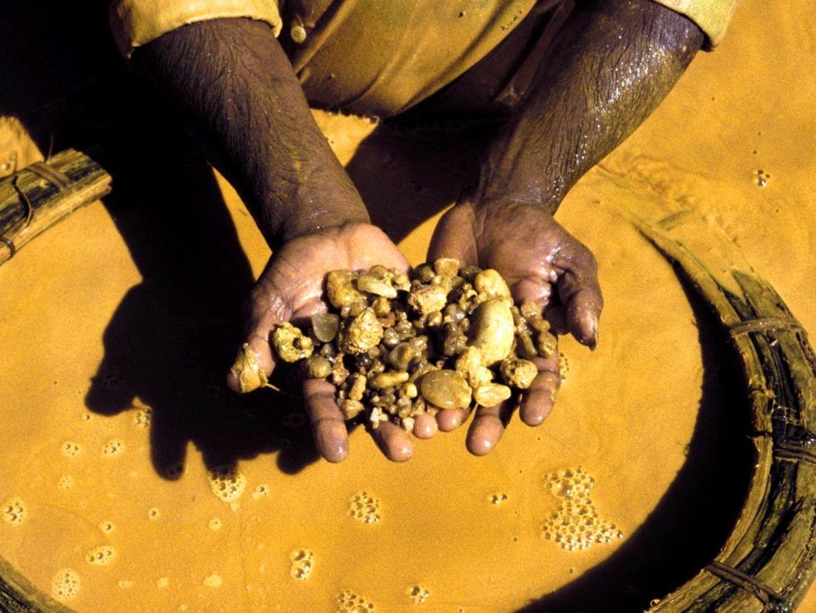 Con las manos amarillas, un minero cerca de Ratnapura, Sri Lanka, separa las piedras del barro ...