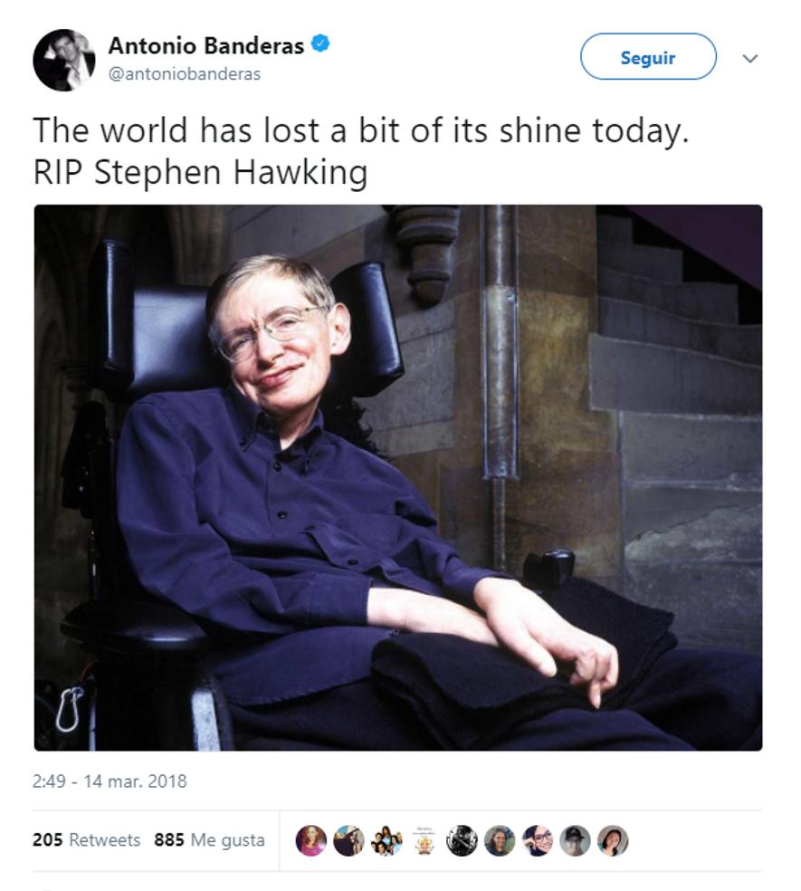 Antonio Banderas sobre Stephen Hawking