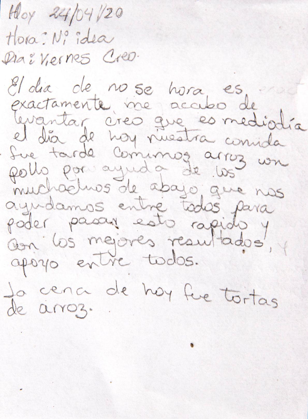 Una entrada del diario de una migrante venezolana en Bogotá, Colombia.