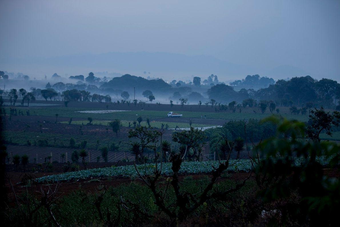 Paisaje del sistema agrícola en unamañana del domingo durante la pandemia por COVID-19, en Guatemala.