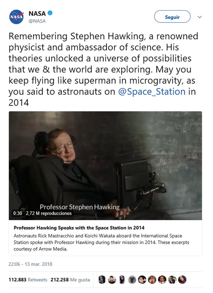 NASA Stephen Hawking