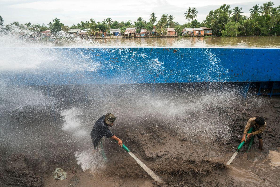 Los trabajadores en barcazas de arena cerca de la ciudad de Can Tho cargan una montaña ...
