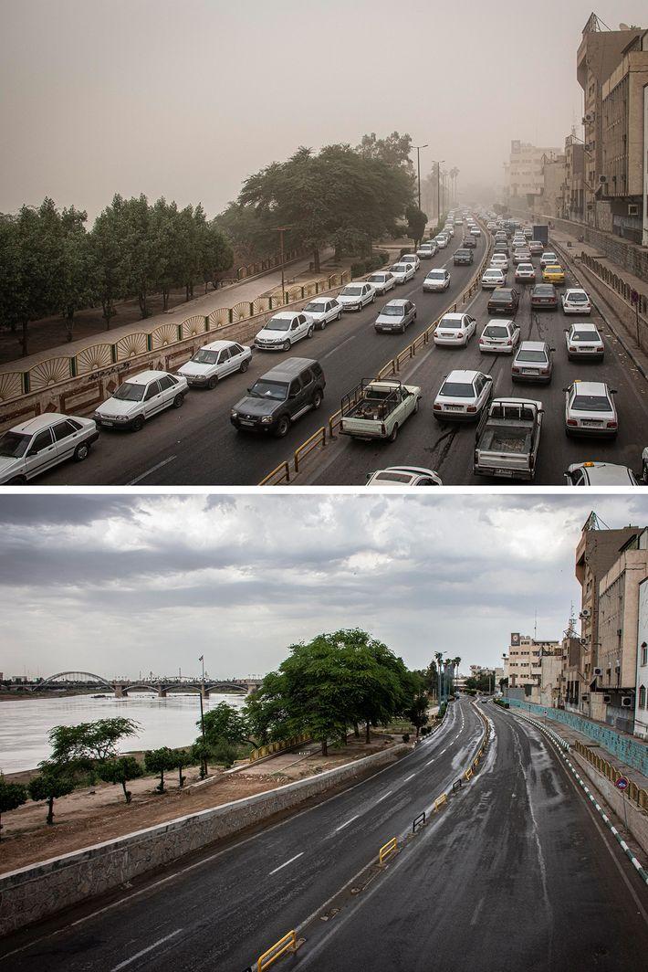 Las vistas antes y después de una vía pública en la ciudad de Ahvaz, Irán, muestran ...