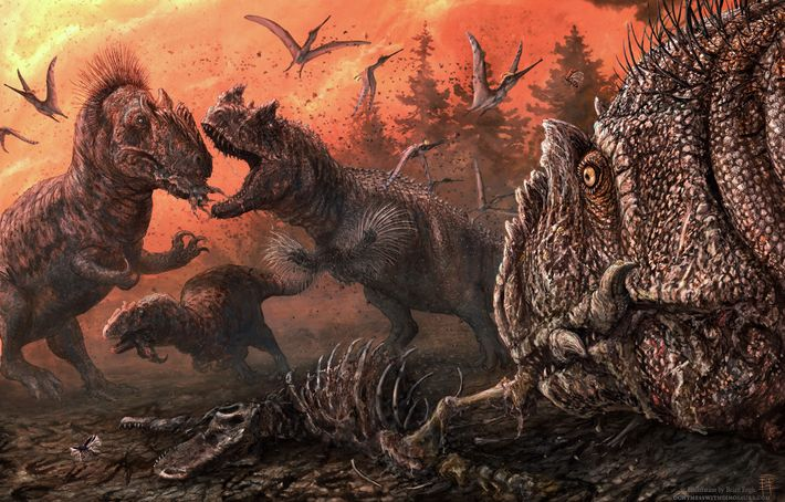 En esta ilustración, el Allosaurus lucha por los restos de otros dinosaurios.