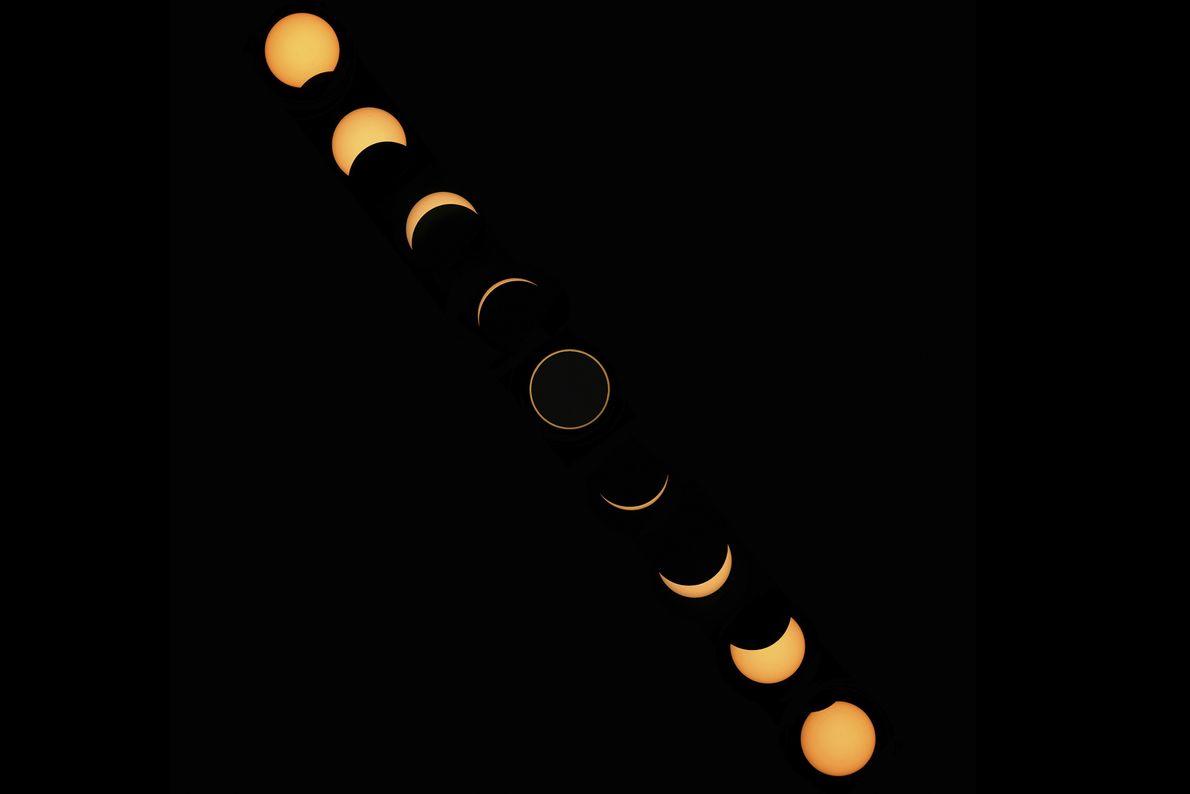 Este fotomontaje muestra al Sol durante un eclipse solar anular.