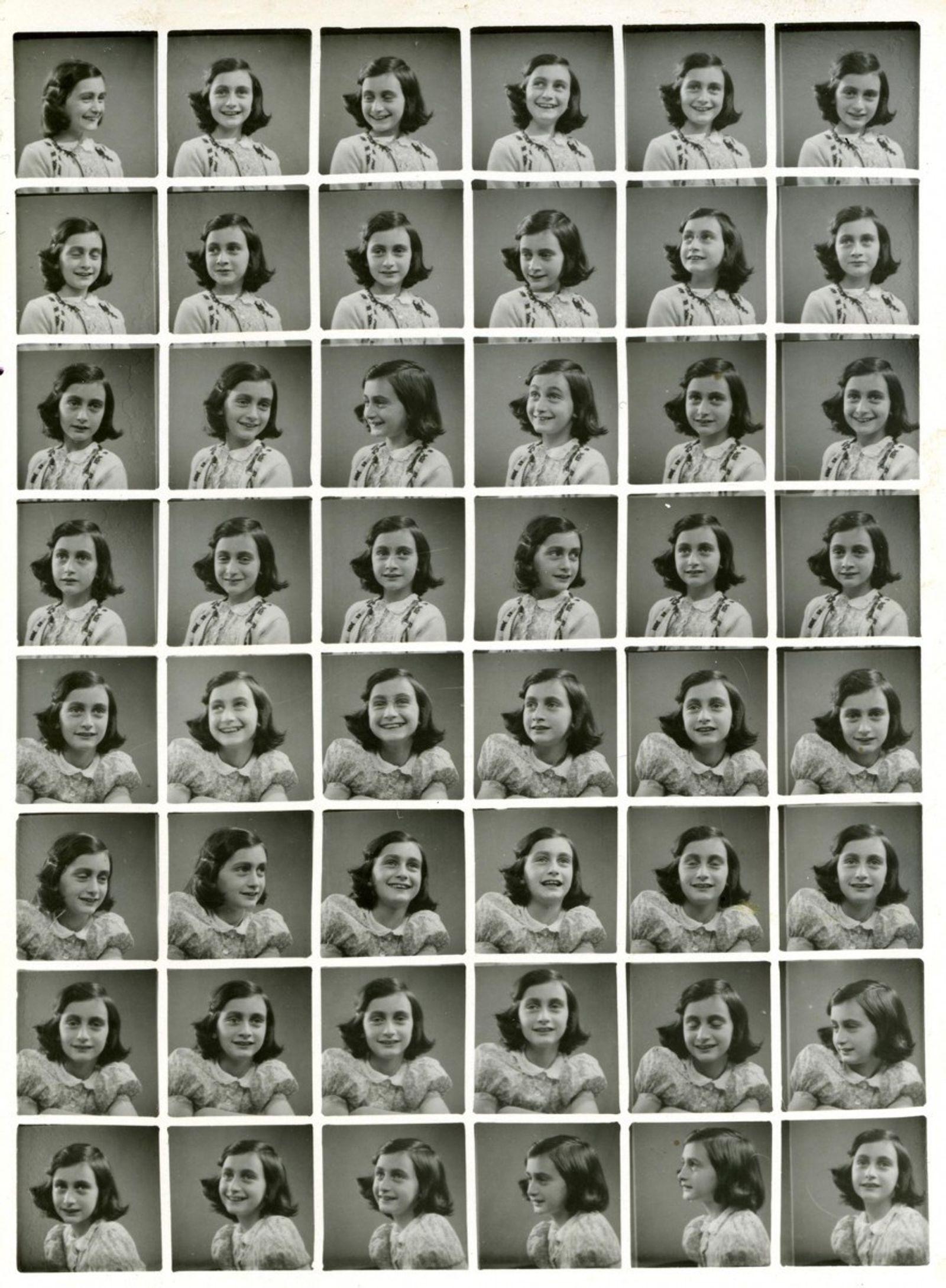 Ana Frank en las fotos para su pasaporte en 1939, antes de verse obligada a esconderse ...