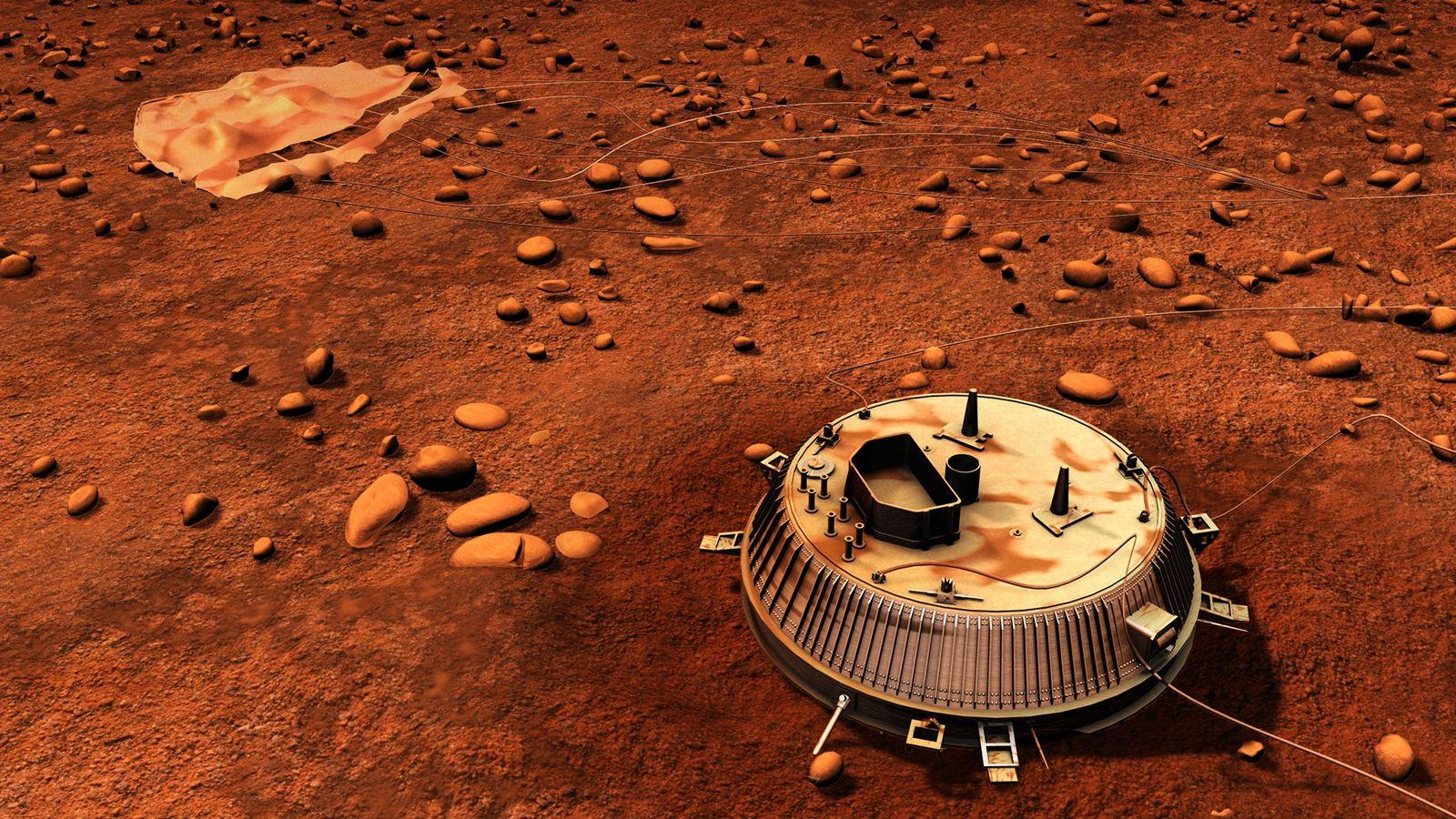 Una ilustración muestra el lugar de aterrizaje de la sonda Huygens en Titán, la luna más ...