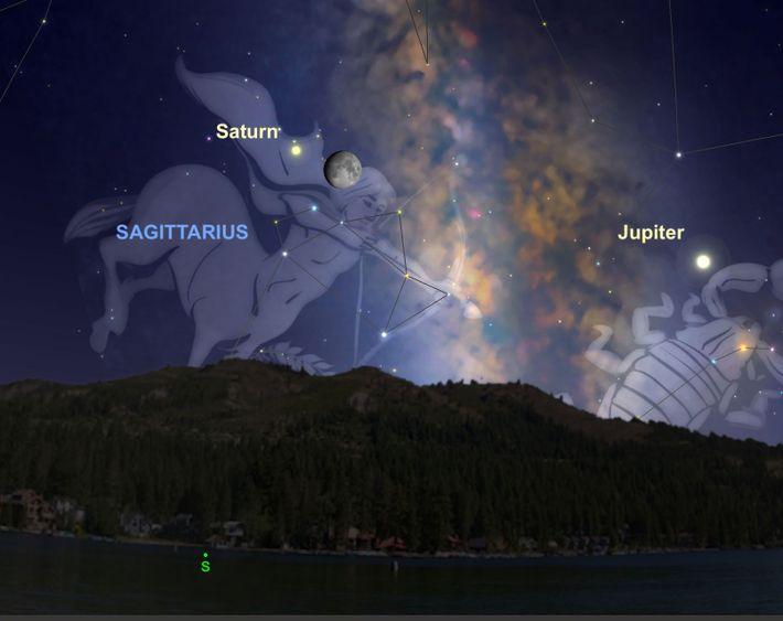 La noche del 11 de agosto, Saturno, de color blanco cremoso, estará especialmente cerca de la ...