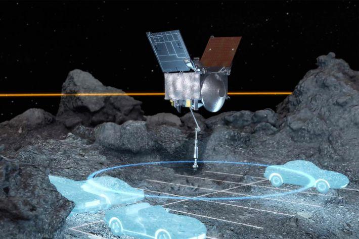 La sonda espacial OSIRIS-REx navegó por un área muy estrecha, del tamaño de unos pocos espacios de ...