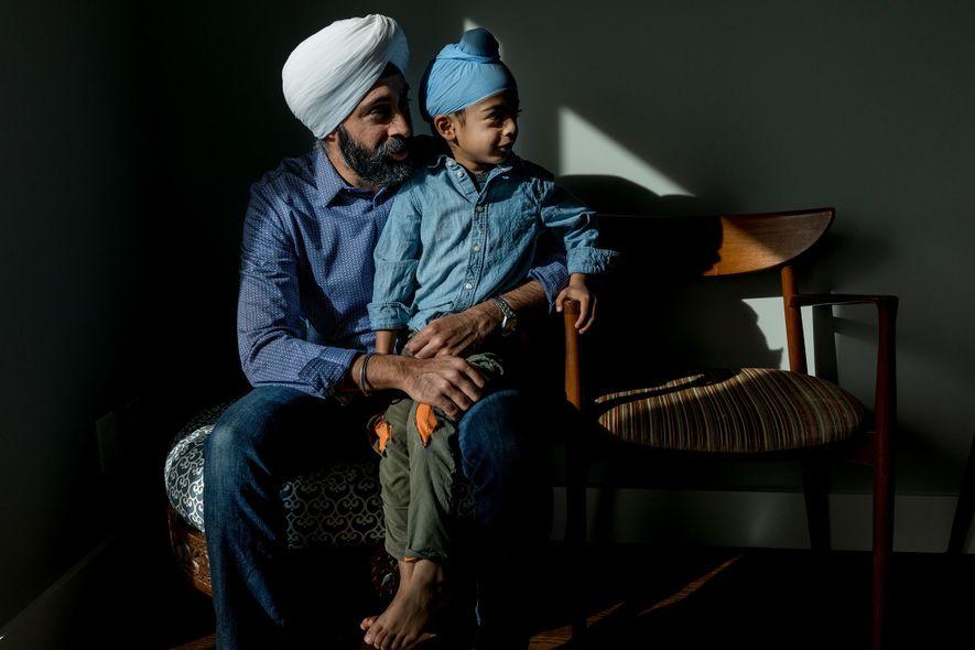Baljeet Singh and his older son, Raza, at their home in San Francisco's Bernal Heights neighborhood. ...