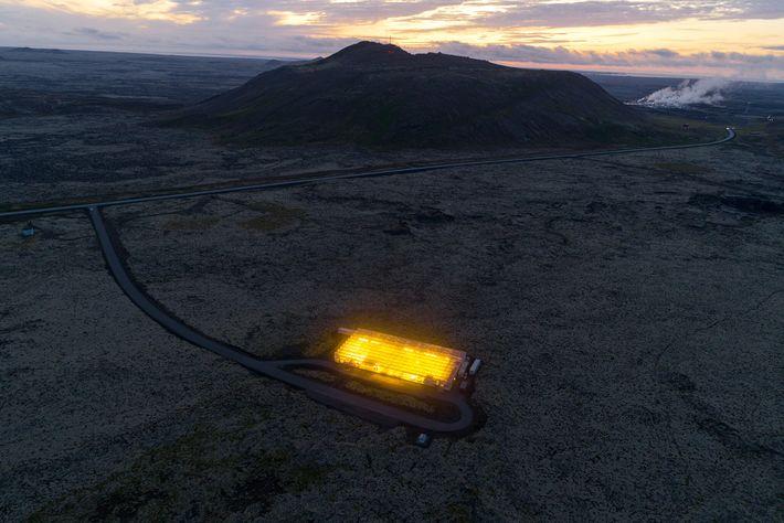 Este invernadero de carbono negativo, ubicado en un campo de lava en la península de Reykjanes ...