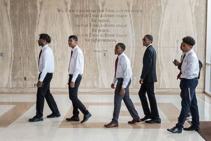 Freshmen enter the Morehouse College chapel named for Martin Luther King, Jr., whose words are etched ...