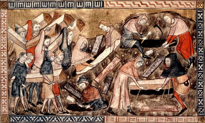 En esta representación del brote en Europa de mediados del siglo XIV, los aldeanos llevan los ...
