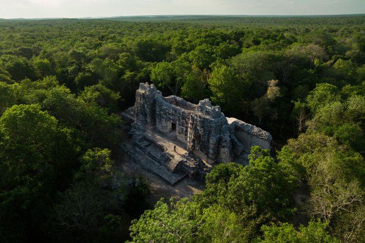 Este antiguo templo maya cerca de la Reserva de la biosfera de Calakmul en México es ...