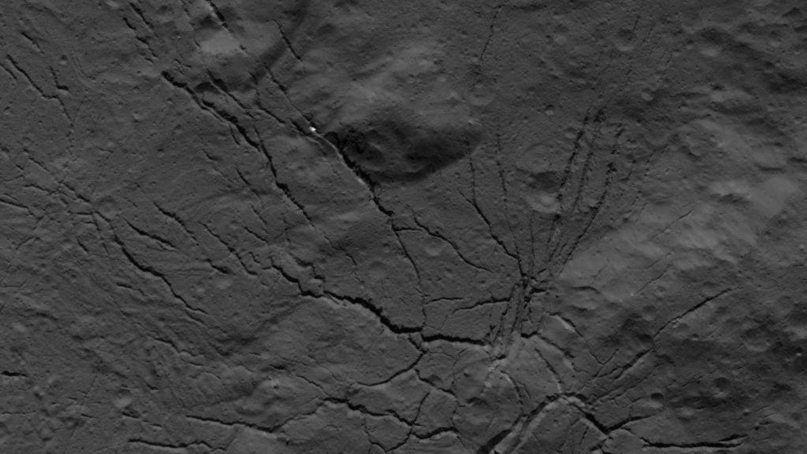 Una red de fracturas en el piso del cráter Occator fue fotografiada por la nave espacial ...