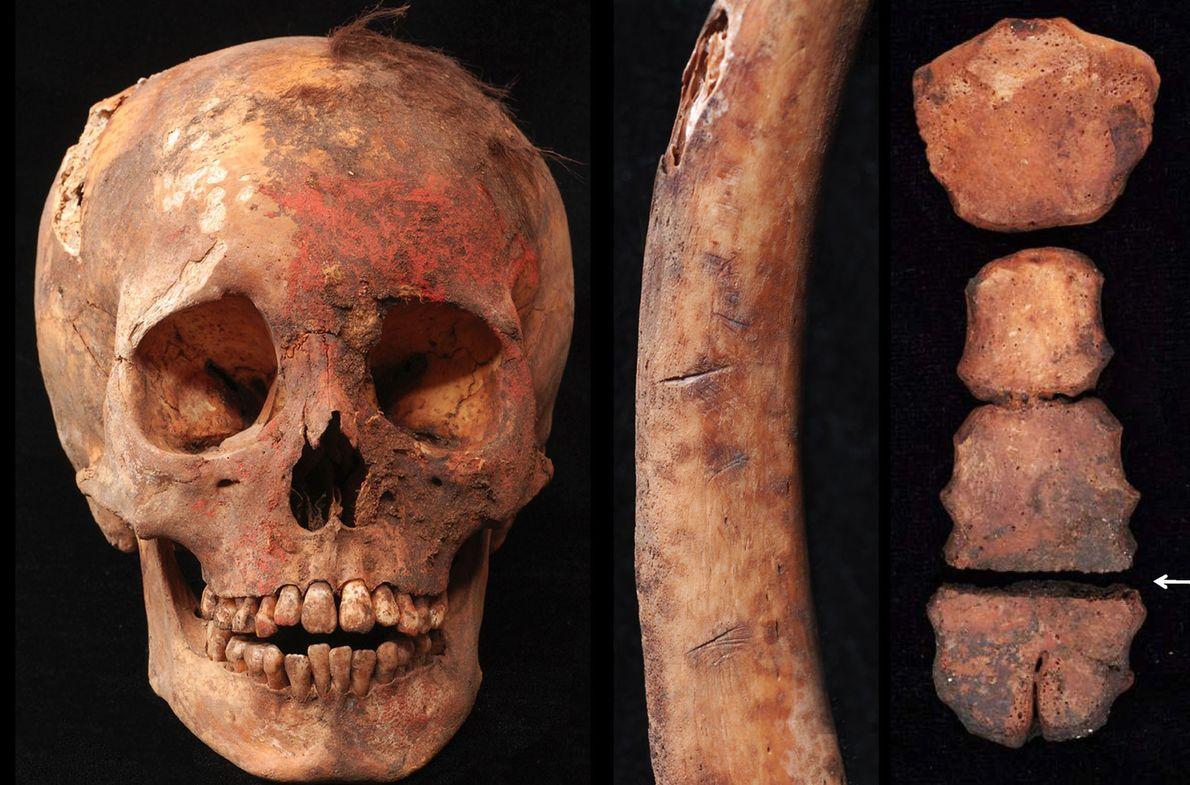 Las pruebas de estos sacrificios incluyen un cráneo teñido con pigmento rojo a base de cinabrio, ...