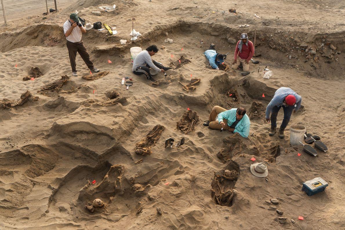 Los arqueólogos Gabriel Prieto (con brocha, apoyado en un codo) y John Verano (extrema izq., con ...