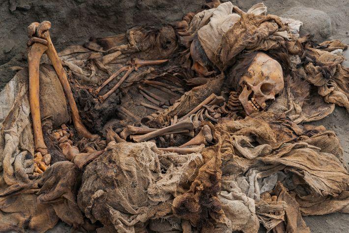 Los restos de dos menores, tal vez niño y niña, yacen lado a lado en un ...