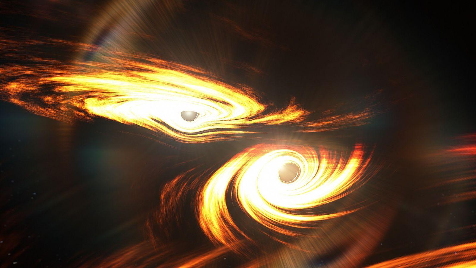 Impresión artística de agujeros negros binarios a punto de chocar. No se sabe si hubo emisiones ...