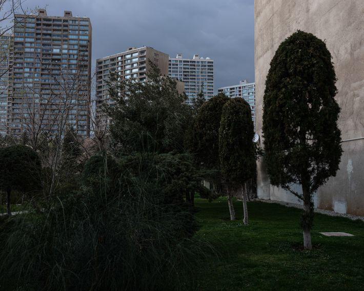 Un camino serpentea detrás del edificio de apartamentos de la autora en Teherán. Aunque el virus ...