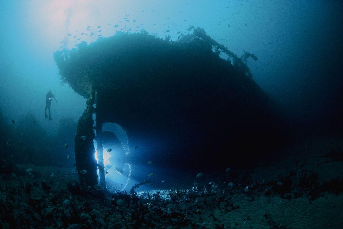 El SS Nord, un petrolero de 82 metros, se hundió en 1915. La nave naufragada yace ...