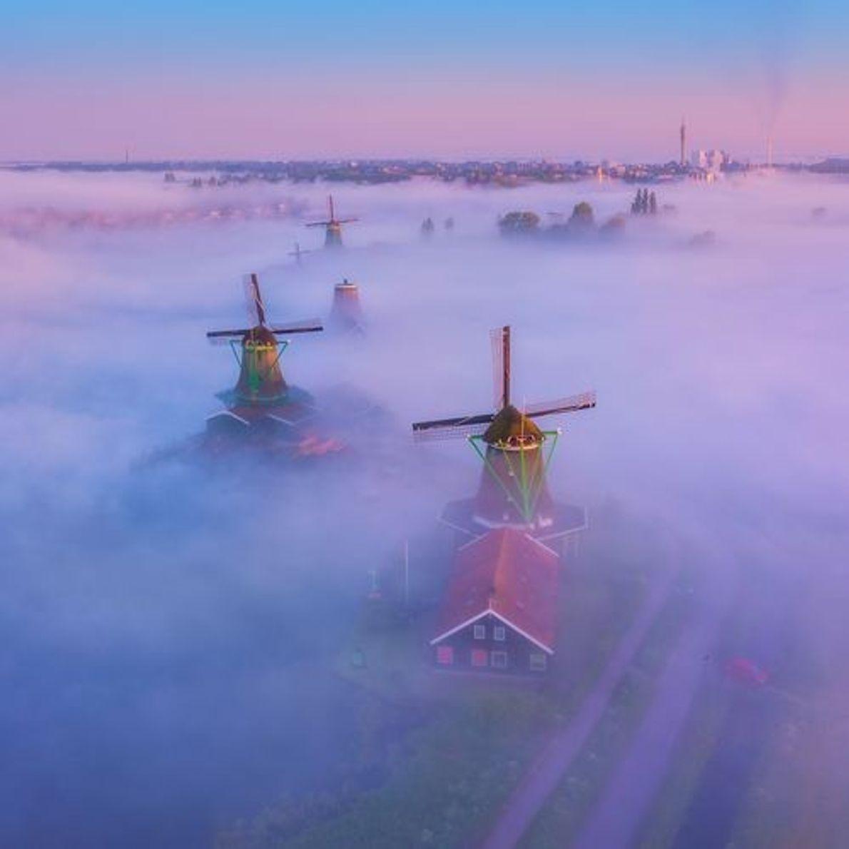 Molinos de viento en la niebla