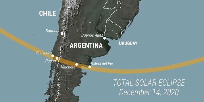 Mapa esquemático de la trayectoria del eclipse solar 2020 en América del Sur.