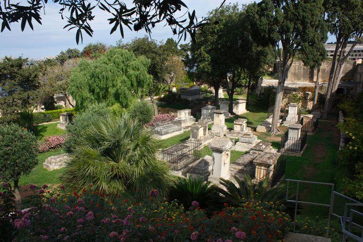 The verdant Msida Bastion Garden overlooks Marsamxett Harbor on the fringe of Malta's capital city.
