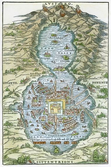 PLAN OF TENOCHTITLAN, 1556. /nPlan of Tenochtitlan (City of Mexico) at the time of the Spanish ...