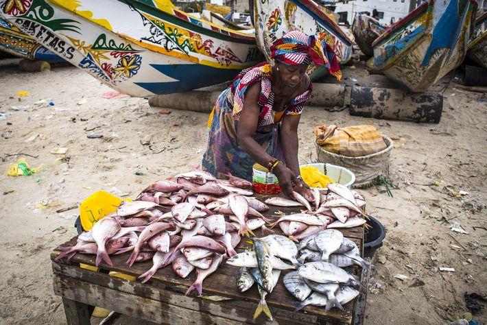 Una mujer vende pescado en el mercado de pescados vespertino en la playa de Soumbédioune cuando ...