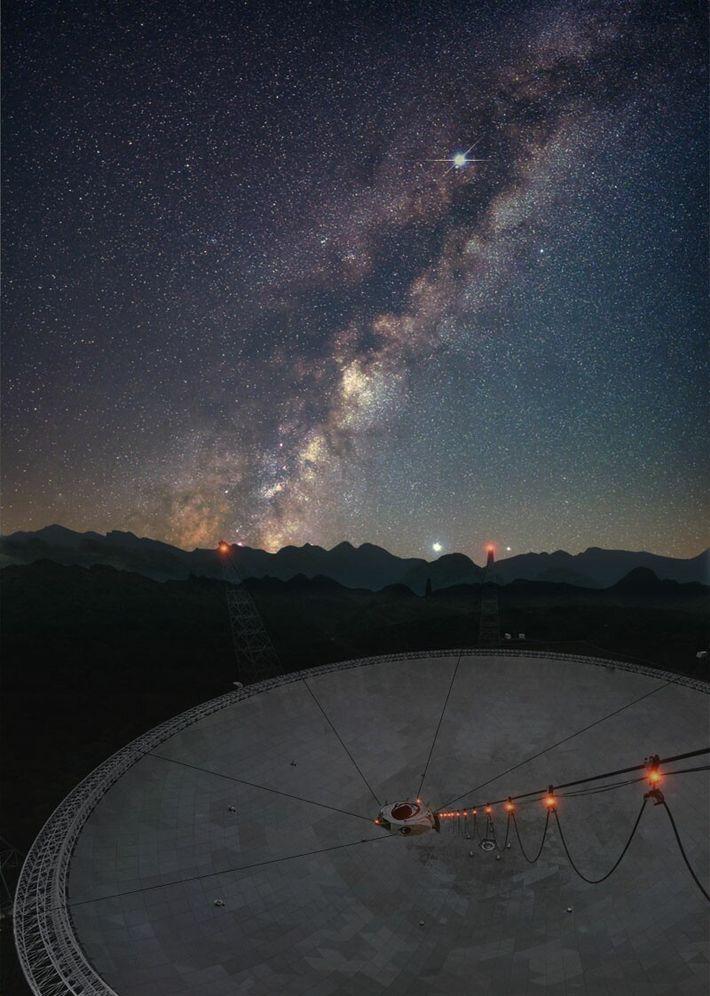 En abril, se utilizó el telescopio esférico de quinientos metros de apertura (FAST, por sus siglas ...