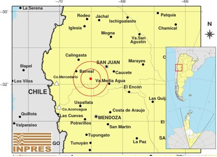 Foco del sismo de 6,4 escala de Richter en San Juan.