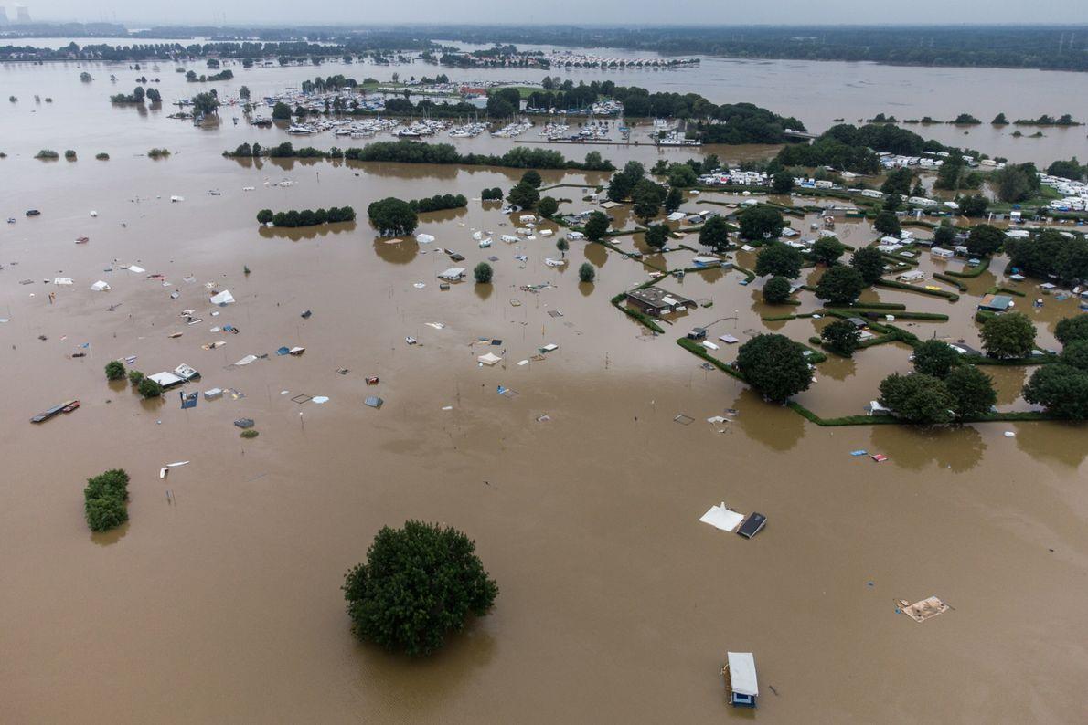 Un campamento inundado en los Países Bajos el 16 de julio.