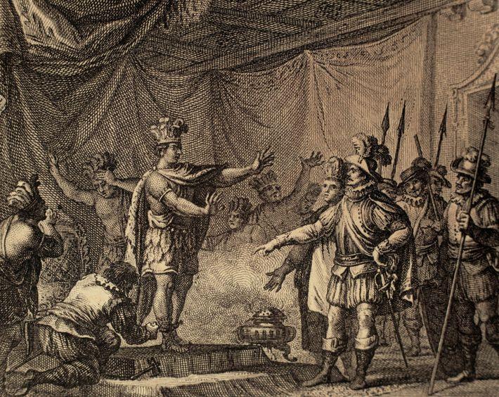 Cortes took prisoner Moctezuma II. Engraving.