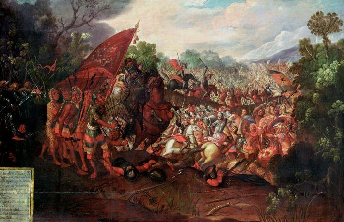 Retreat of Hernando Cortes form Tenochtitlan, Mexico, 1520.