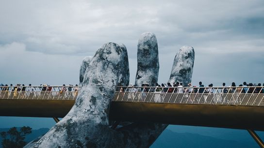 "Cau Vang, the ""gold bridge,"" just opened near Da Nang, Vietnam."