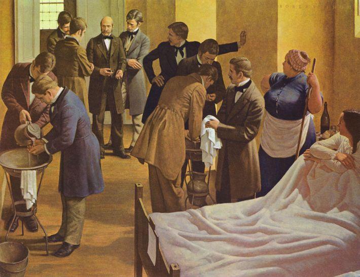 El pintor Robert Thom representa a Semmelweis (centro) en el Hospital General de Viena en Austria ...