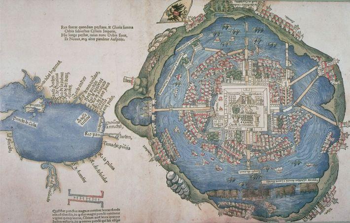 Map of Tenochtitlan, 1524