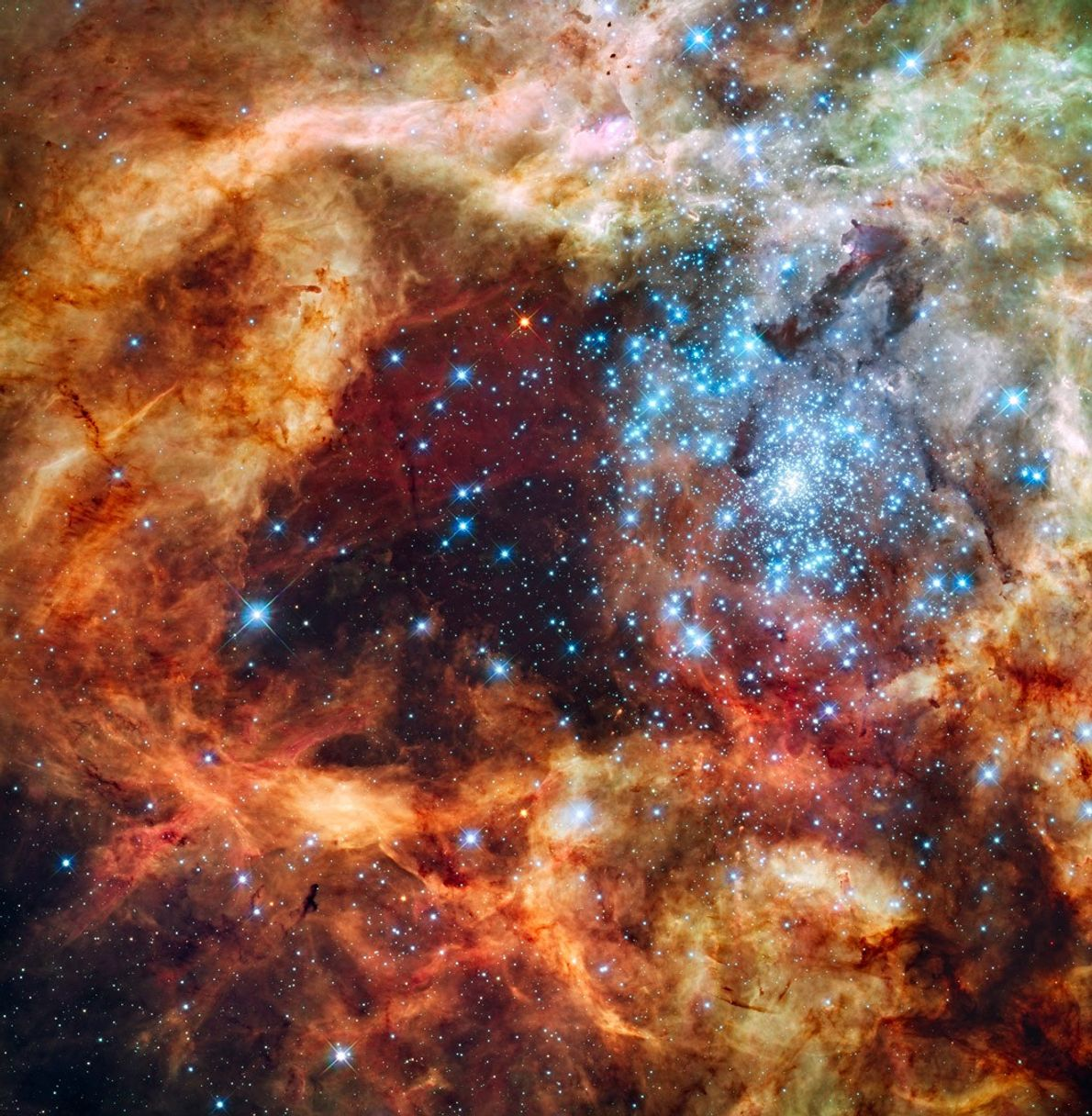 Un cúmulo de estrellas jóvenes llenas de energía iluminan un hueco en el polvo de la ...