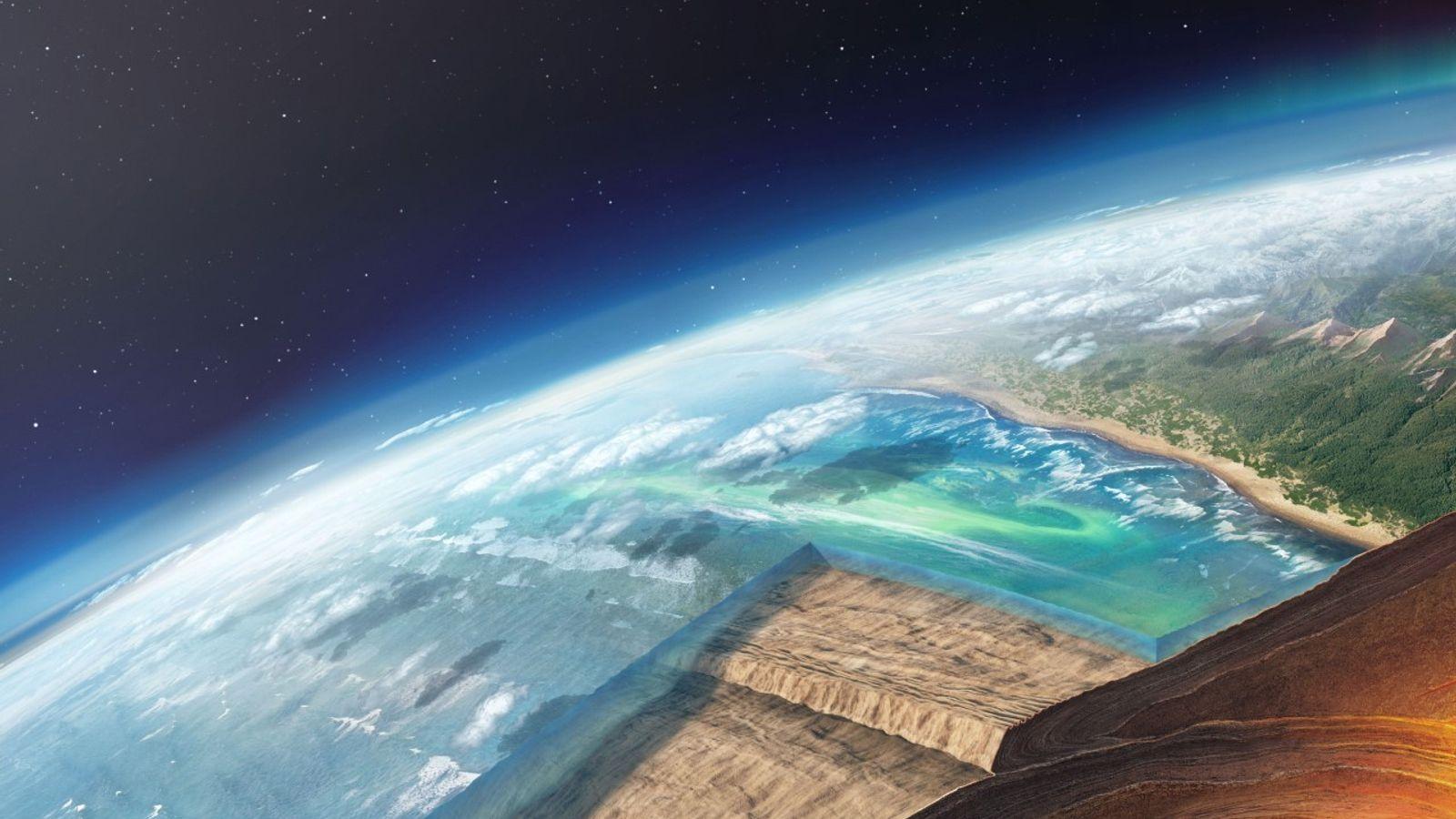 Una placa oceánica se sumerge debajo de otra en una ilustración de una zona de subducción. ...