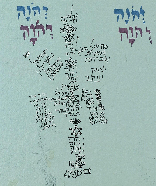 Rezos escritos por el Admor en las paredes de su casa en Malta.