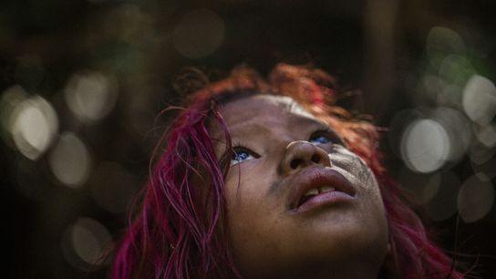 A los niños guaraní mbya, como Manuela Vidal, se les enseña su lengua y cultura en ...