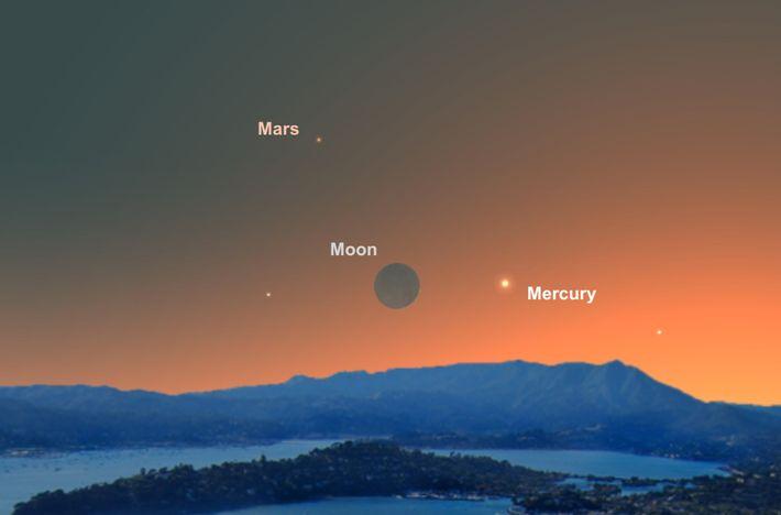 El 4 de junio, la delgada luna creciente actuará como guía para poder ver el diminuto ...