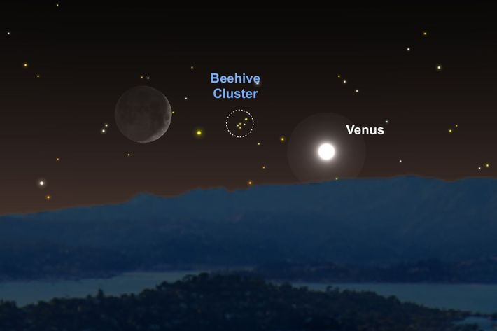 Venus y la Luna actuarán como guías para encontrar al Pesebre el 16 de junio.