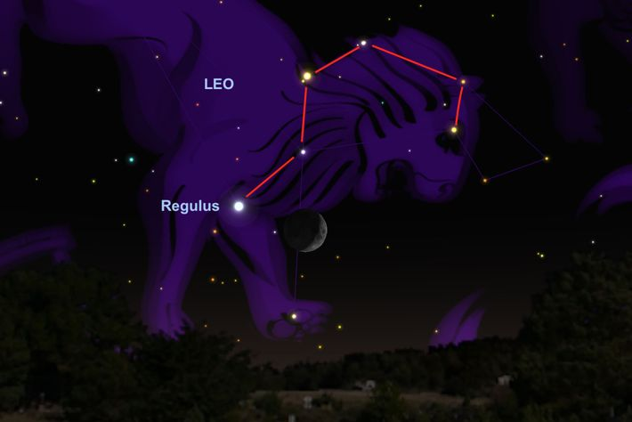 La Luna se colocará cerca de la estrella Regulus el 17 de junio.