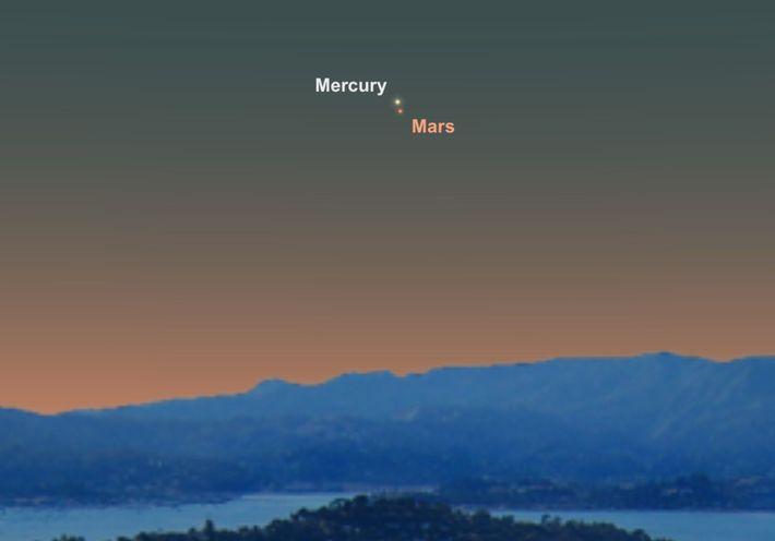 El 18 de junio, Mercurio y Marte parecerán estar muy cerca en el cielo.