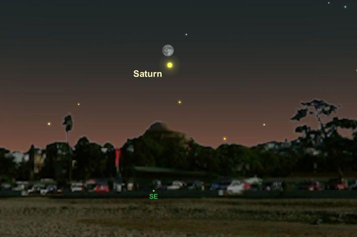 Saturno y la luna estarán cerca del horizonte el 27 de junio.