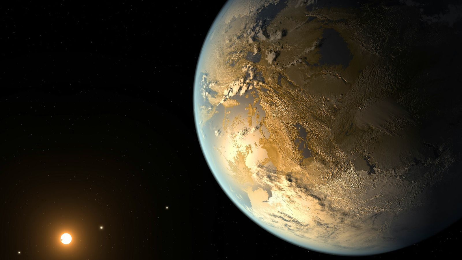 El concepto de este artista representa a Kepler-186f, el primer planeta validado del tamaño de la ...