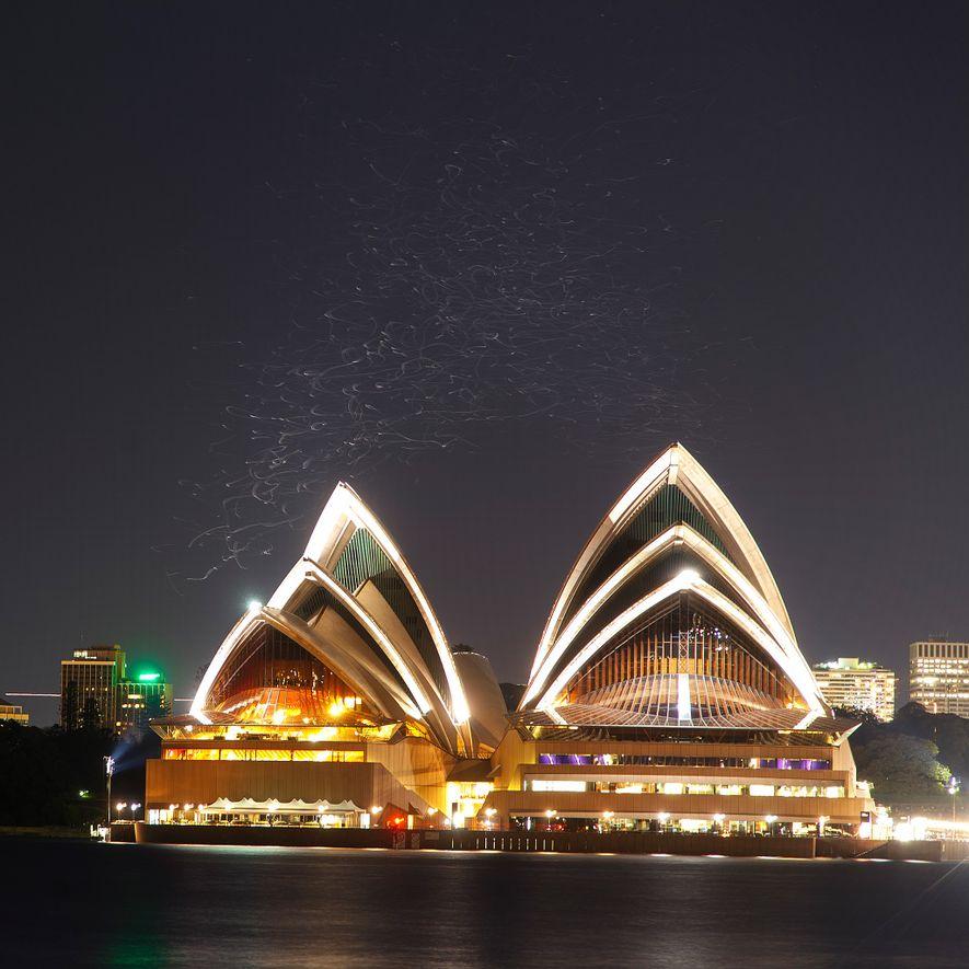 Una imagen de larga exposición de la Ópera de Sydney revela los senderos fantasmales de aves ...